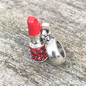 Red lipstick charm will work with Pandora dangles